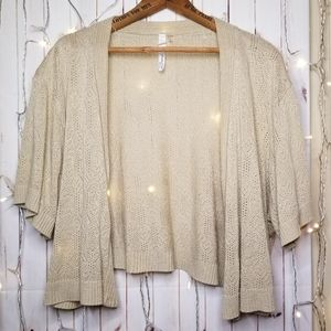 Tan Knit Shrug 3x by NY Collection Woman